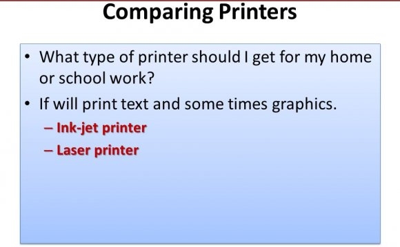 Comparing Printers What type