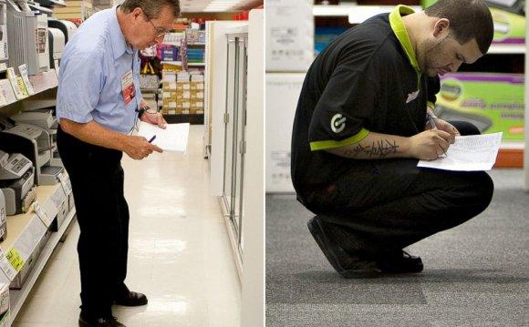 PHOTO: An employee checks